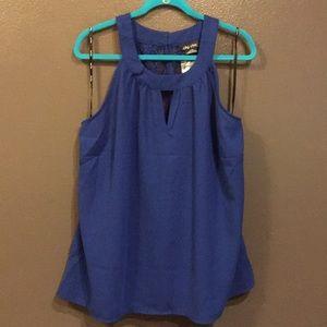 Split back solid & lace sleeveless blouse cobalt